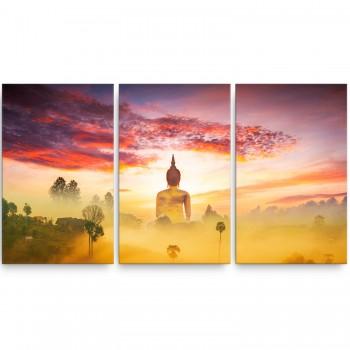 Quadro Decorativo Buda Zen Pôr do Sol Meditação