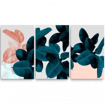 Quadro Abstrato Flores Tons Rose Verde Sala Folhas Lindo!