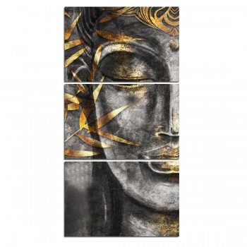 Quadro Decorativo Buda Cinza e Dourado Vertical
