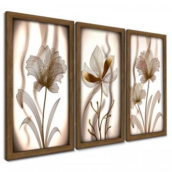 """""""Trio Quadros Decorativos Flor branco e golden"""