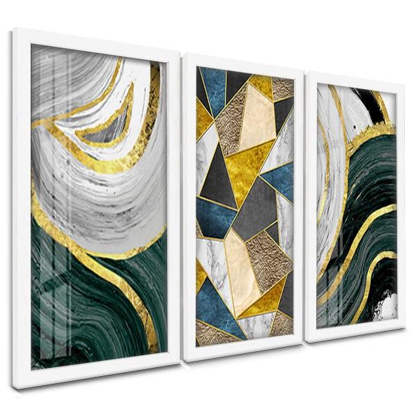 """""""Trio Quadros Decorativos Abstrato Dourado e Verde"""