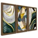 Trio Quadros Decorativos Abstrato Dourado e Verde