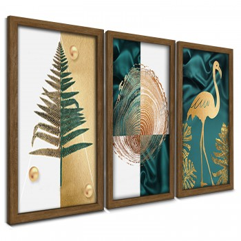 """Trio Quadros Decorativos Flamingo Gold"