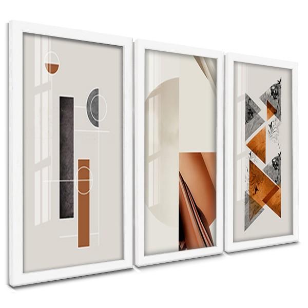 """Trio Quadros Decorativos Geometrico Abstrato Neutro"