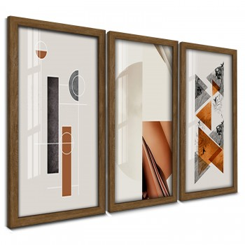 """Trio Quadros Decorativos Geometrico Abstrato Neutro"