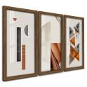 Trio Quadros Decorativos Geometrico Abstrato Neutro