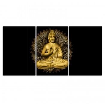 """""""Quadros Decorativo Buda Preto e Dourado Horizontal"""