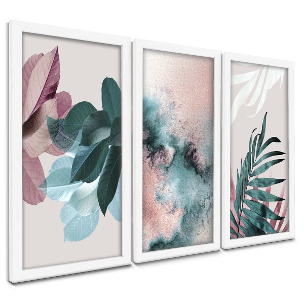 """Trio Quadros Decorativos Flor Tons Turquesa"