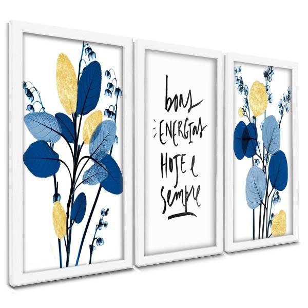 """""""Trio Quadros Decorativos Flores Azul e Dourado"""