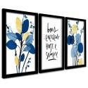 Trio Quadros Decorativos Flores Azul e Dourado