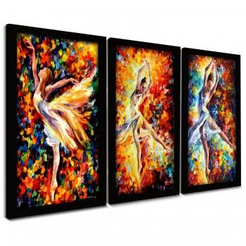 """Trio Quadros Decorativos Bailarina Abstrato"