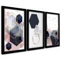 Trio Quadros Decorativos Geométrico Tons Rosê