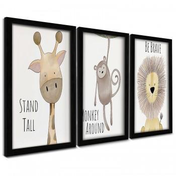 """""""Trio Quadros Decorativos Animais Cartoon"""