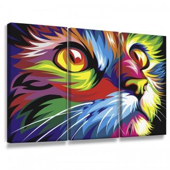 """""""Quadros Decorativos Sala Gatos Coloridos Arte Animais Lindo"""