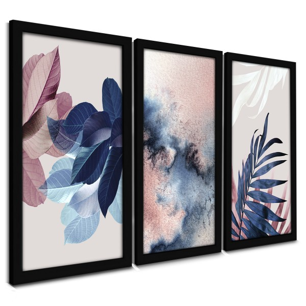 """Trio Quadros Decorativos Flores Tons Rosê"